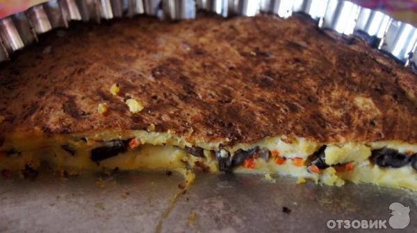 Картофельная запеканка с грибами в аэрогриле рецепт
