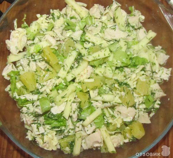 Салат с курицей и ананасом не слоями рецепт с