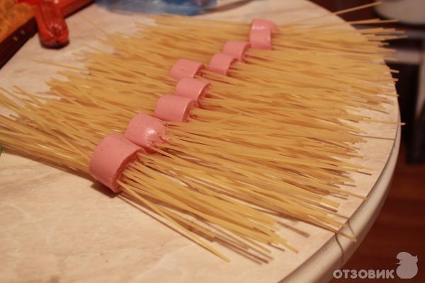спагетти в сосиски фото