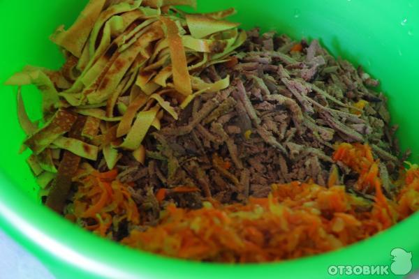 Салат с печенью и блинами рецепт