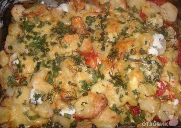 238Картошка с фаршем и овощами в духовке рецепт