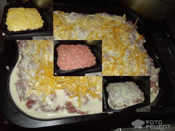Рецепт картофельная запеканка с фаршем без сыра в духовке фото