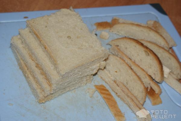 как приготовить рыбный торт на тостовом хлебе?