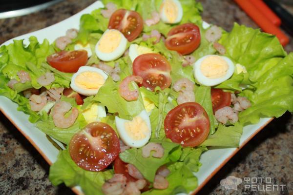 Рецепт салата из креветок и яйца с