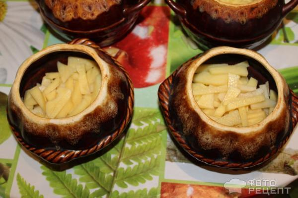 Рецепт Курица в горшочке с картошкой фото
