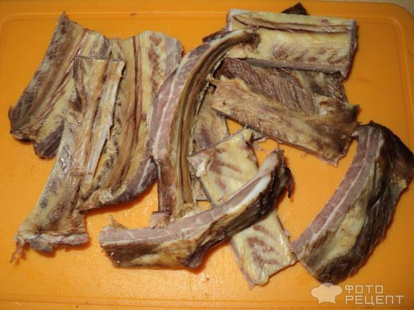 Рецепт Горохово-чечевичный суп с копчеными ребрышками фото