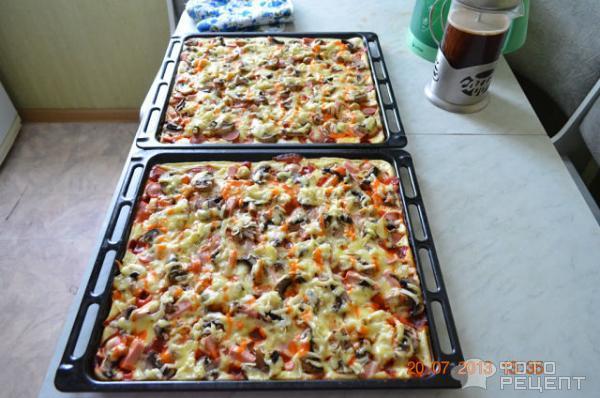 пицца с жидкого теста пошаговый рецепт с фото
