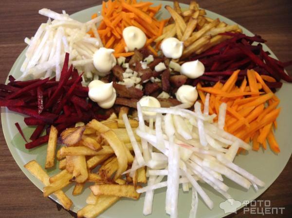 Салат с картошкой фри фото рецепт