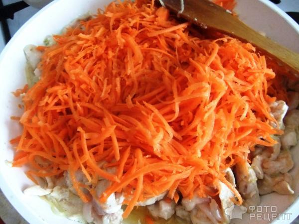 Фунчоза с курицей и овощами фото