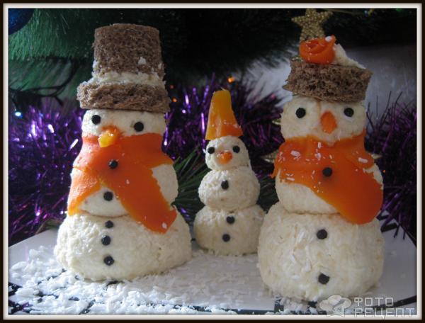 Новогодняя закуска Снеговички фото