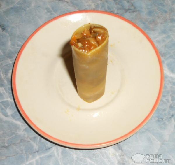 Каннеллони с мясом и грибами под сырным соусом фото