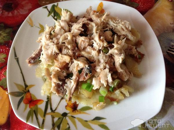 Рецепты салат со скумбрией горячего копчения