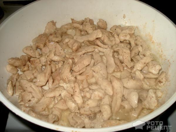 Бефстроганов из курицы с грибами фото