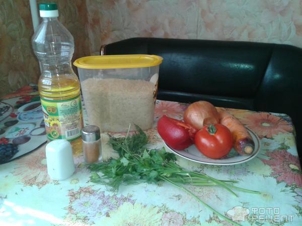 Рецепт: Рис с овощами, рис с морковью, перцем и помидорами