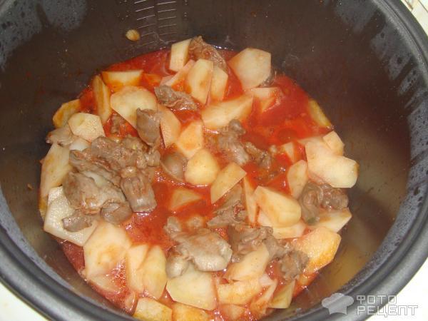 Рецепт куриных желудков с картофелем в мультиварке