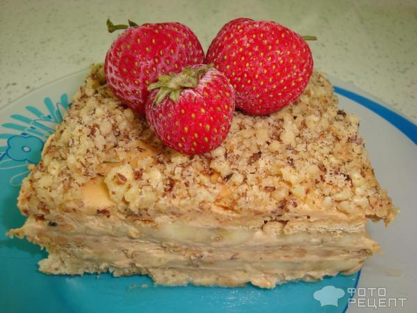 Торты фруктовые без выпечки рецепты с фото из печенья