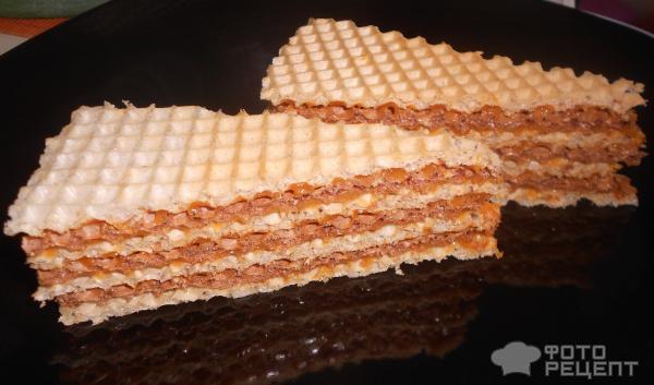 Вафельные коржи со сгущенкой рецепт с фото