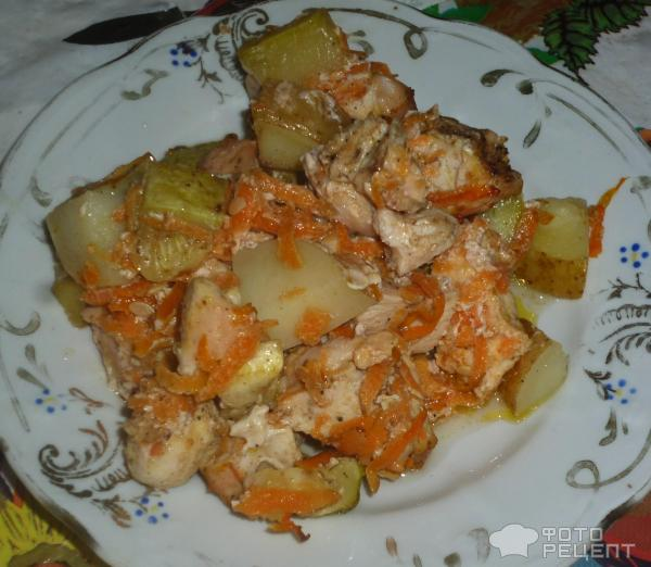 Рагу с курицей и кабачками в духовке рецепт