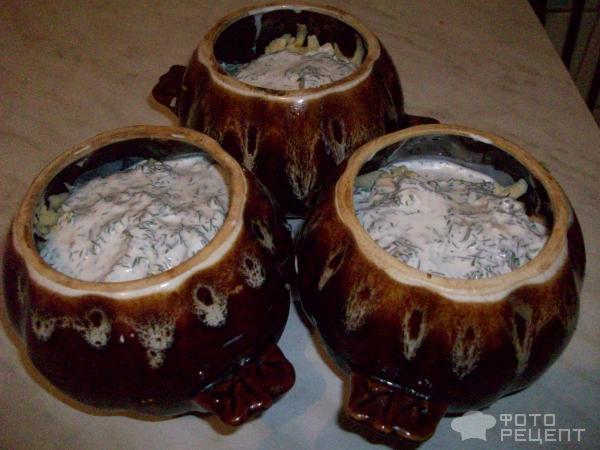 Пельмени в горшочке с грибами фото