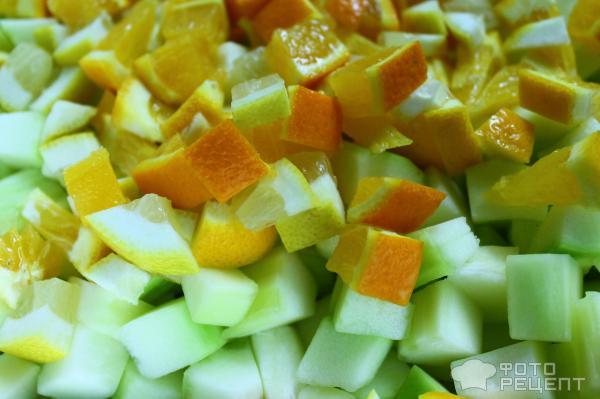 Рецепт: Янтарное варенье - из кабачков с лимоном и апельсином!