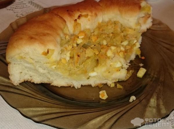 Пирог дрожжевой с капустой и яйцом рецепт