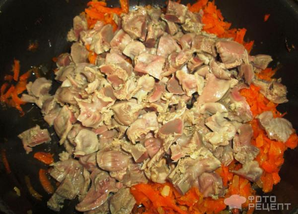 Рецепт: Подлива с куриными желудками - быстро, вкусно, недорого