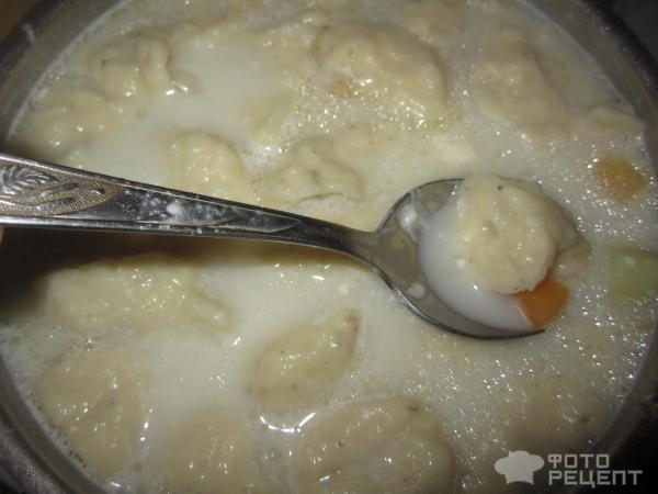 Сырный суп с галушками фото