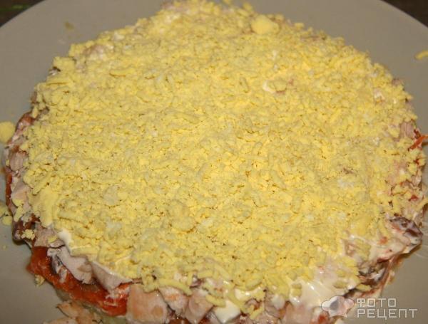 Салат грибная поляна с копченой курицей рецепт