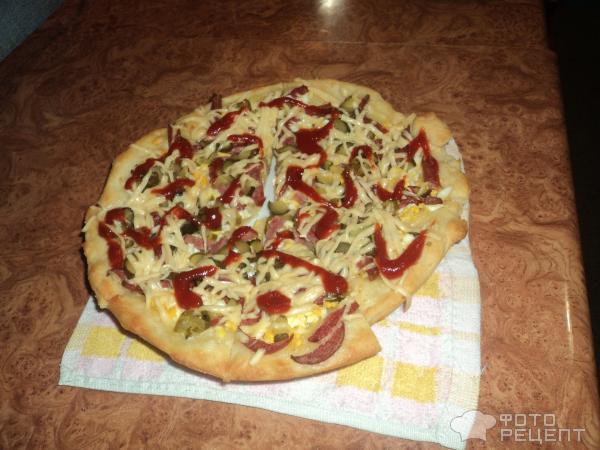 Рецепт пиццы дрожжевой с колбасой
