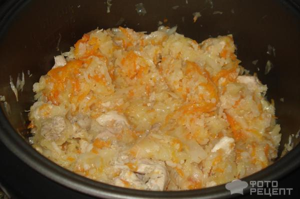 Капуста тушеная с курицей и рисом в мультиварке рецепт с фото пошагово