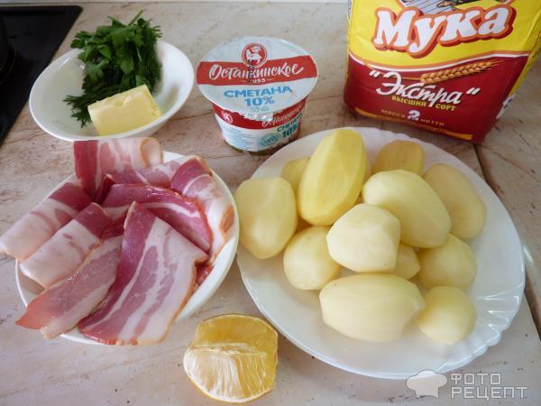 Картофель в беконе со сметано-лимонным соусом фото