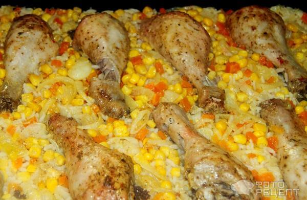 Запеченные куриные ножки в духовке с рисом рецепт