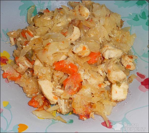 Рецепт с фото тушеной капусты с курицей в мультиваркеы