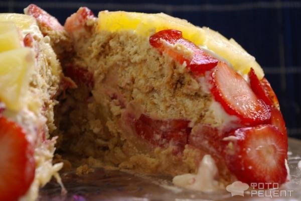 Торт из печенья с фруктами без выпечки фото