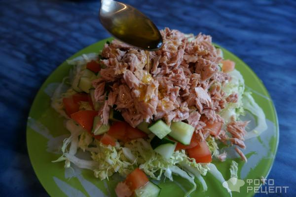 Салат с тунцом капуста огурец