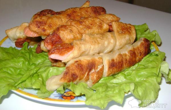 Рецепт сосисок тесте сковороде фото
