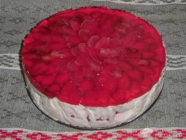 Сметанно-жилейный торт с фруктами фото