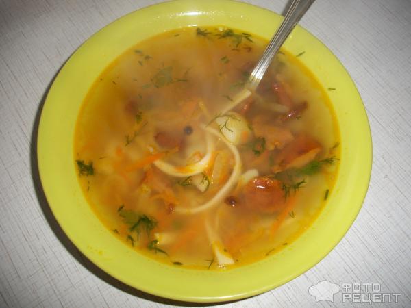 Суп грибной с домашней лапшой фото