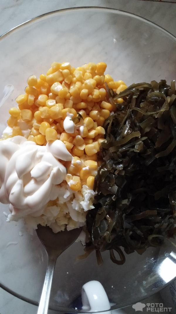салат кукуруза морская капуста