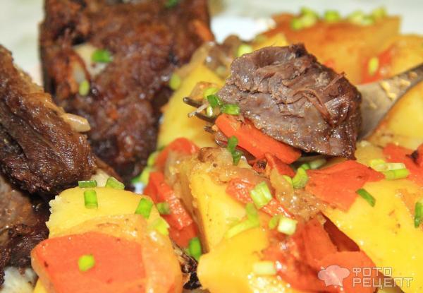 Мясо говядины с овощами в духовке рецепт