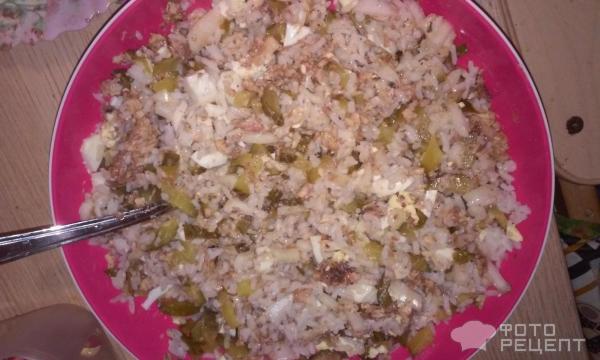 Рецепт салат с сайрой и рисом рецепт