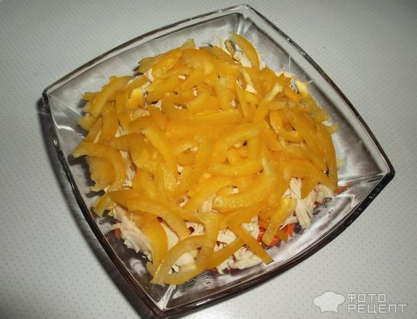 Салат из курицы с корейской морковью перцем и помидорами