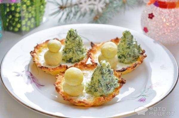 Новогодняя закуска Елочка со снеговиком фото