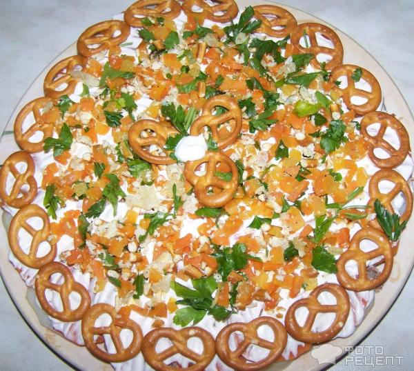 Рецепты слоеных торт салатов с