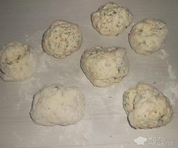 Лепешки на кефире с колбасой фото