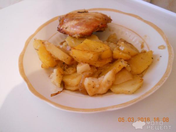 Картошка в сметанном соусе с курицей в духовке рецепт