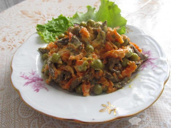 Салат с куриными сердечками пошагово