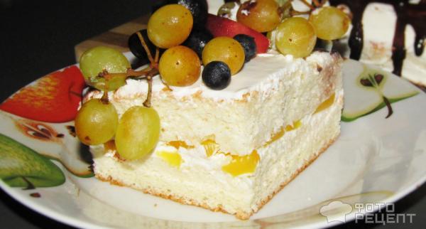 Бисквитный торт с консервированными фруктами рецепт