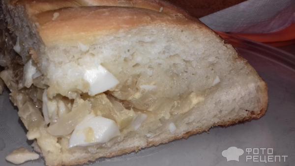 Пирог с капустой и яйцом из дрожжевого теста с