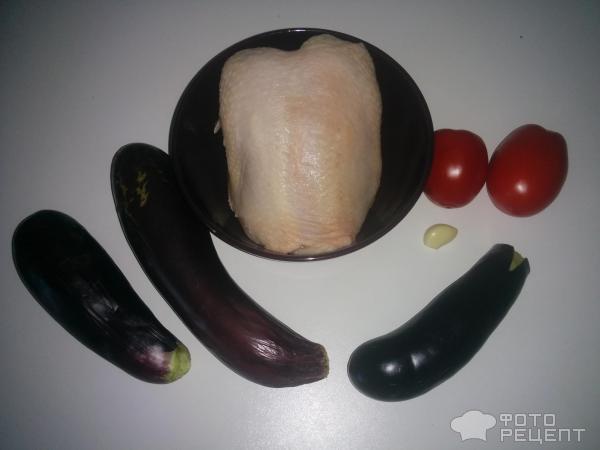 Куриные окорочка с баклажанами и помидорами в духовке рецепт